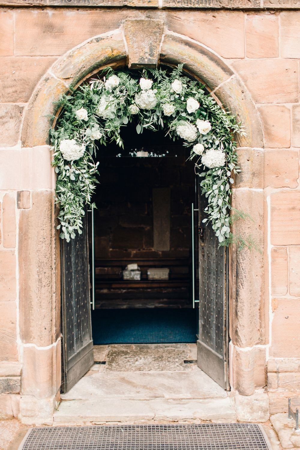 church wedding #wedding Flower Arch Church Greenery Foliage Hydrangea Rose Llanrhaeadr Springs Wedding Jessica Reeve Photography #Flower #Arch #Church #Greenery #Foliage #Hydrangea #Rose #wedding