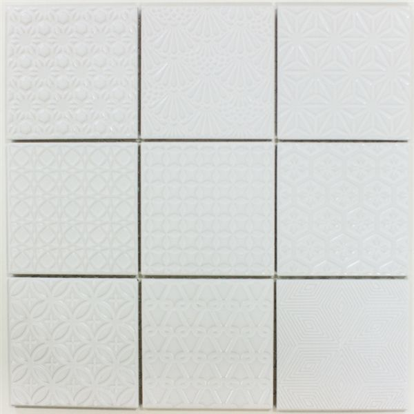 Mod Quilt 12x12 Textured Floor Tile White Flooring Tile Floor Textured Subway
