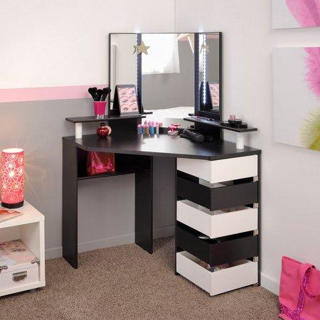 Volage Makeup Table White Black And White Walmart Com In 2020 Bedroom Vanity Beauty Room Corner Makeup Vanity