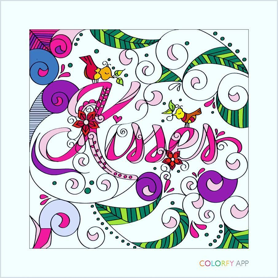 #kiss #kisses #love #coloring #adultcolouring #adultcoloringbook #pink #fusia #firsttime #firstpage #relax #stressreliever #stressedout #entretainment #happy
