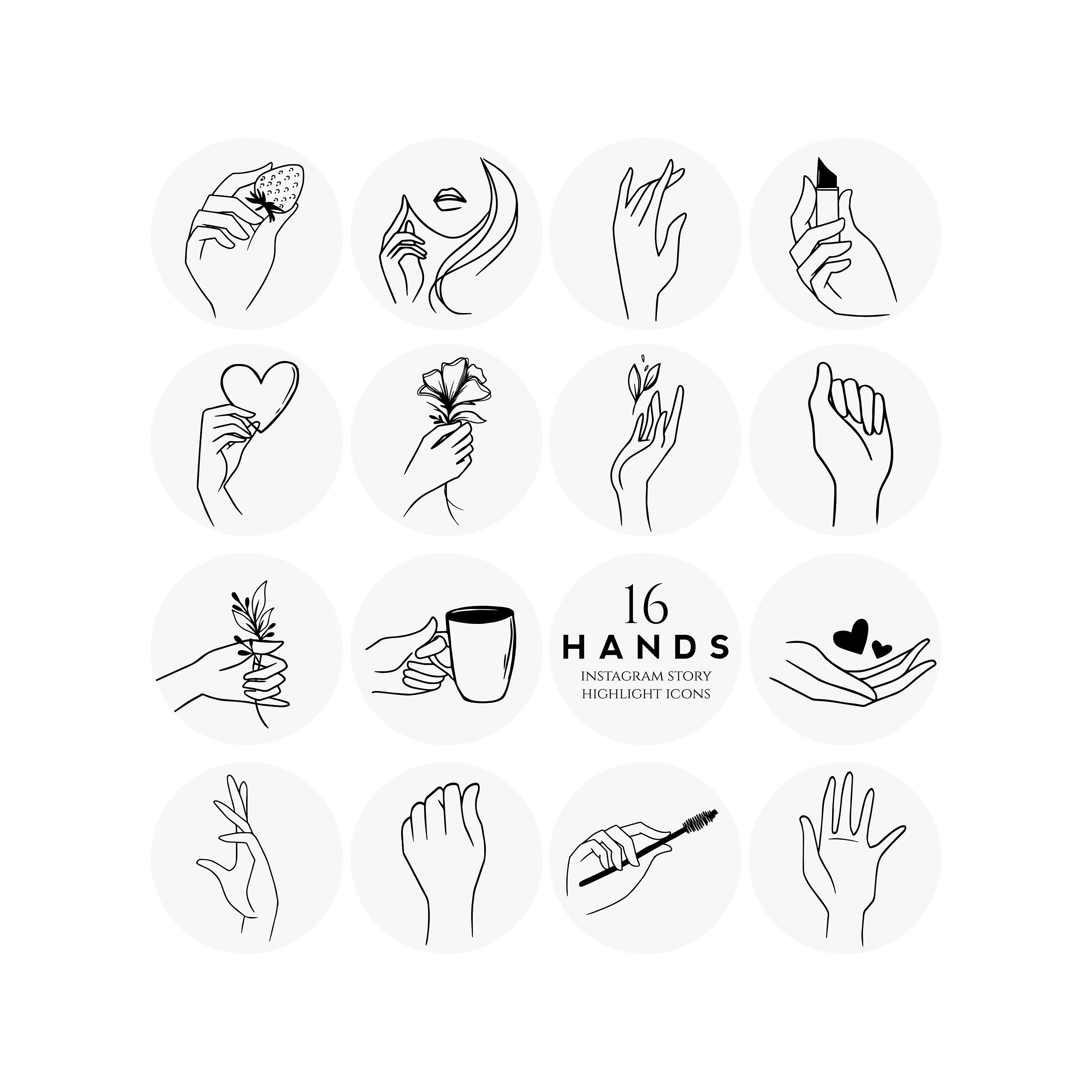 Hands Instagram Story Highlight Icons sketch simple modern