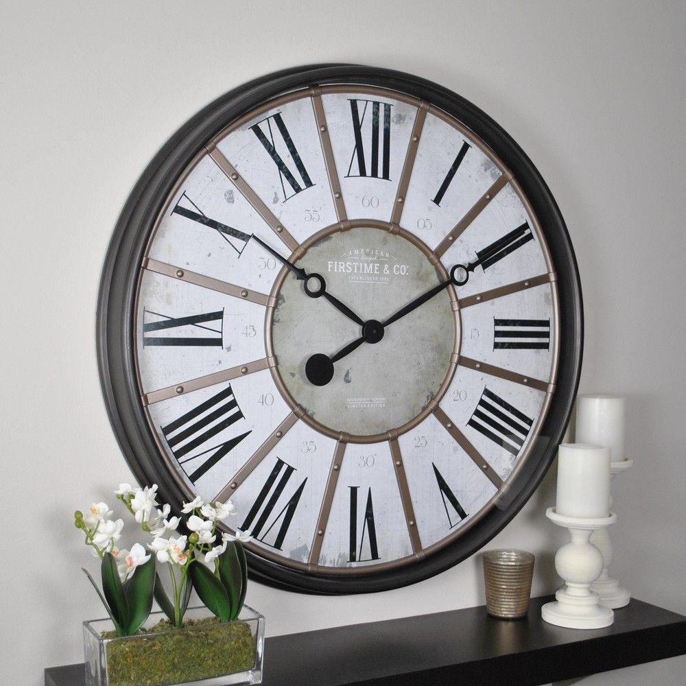 29 Roman Farmhouse Wall Clock Oil Rubbed Bronze Firstime Co In 2021 Big Wall Clocks Oversized Wall Clock Gear Wall Clock Oil rubbed bronze wall clock