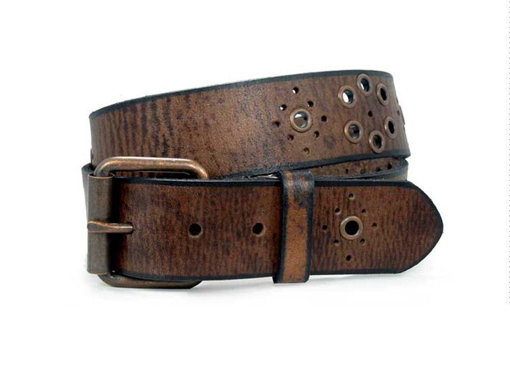 Nickel Free Women's Grommet Brown Leather Belt - casual and rash free!