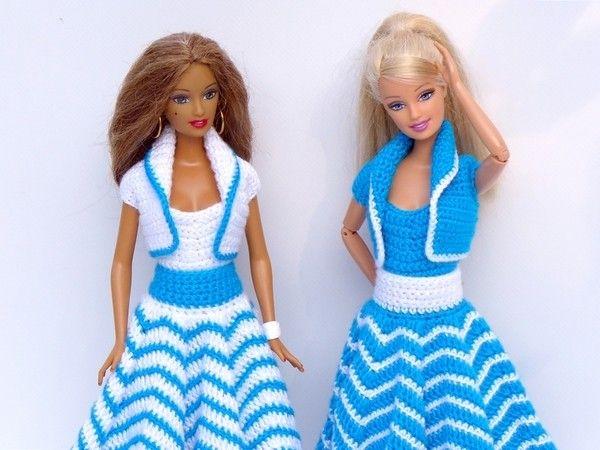 Häkelanleitungen: Puppenkleidung 3-teiliges Sommer-Set ...