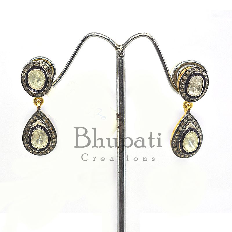 925 Sterling Silver Uncut Pave Diamond Natural Emerald Golden Plated Earring