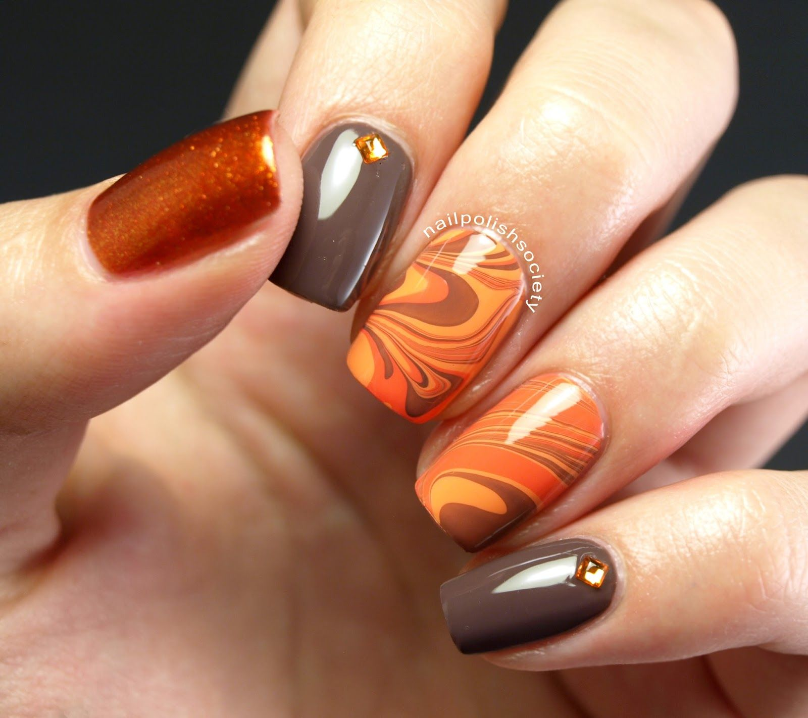 31dc2014 Day 02 Orange Autumn Water Marble Feather