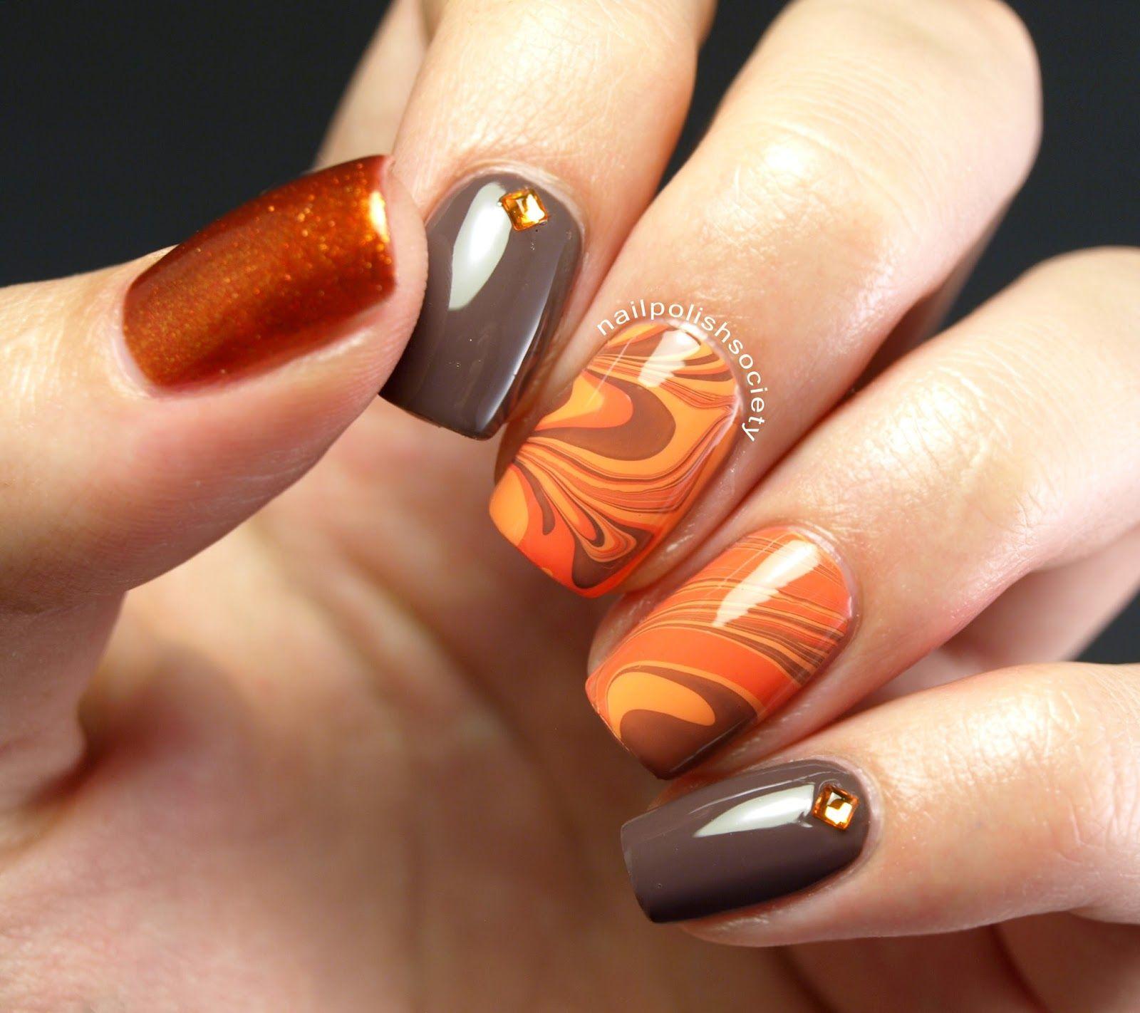 31DC2014 Day 02: Orange Autumn Water Marble | Feather ...