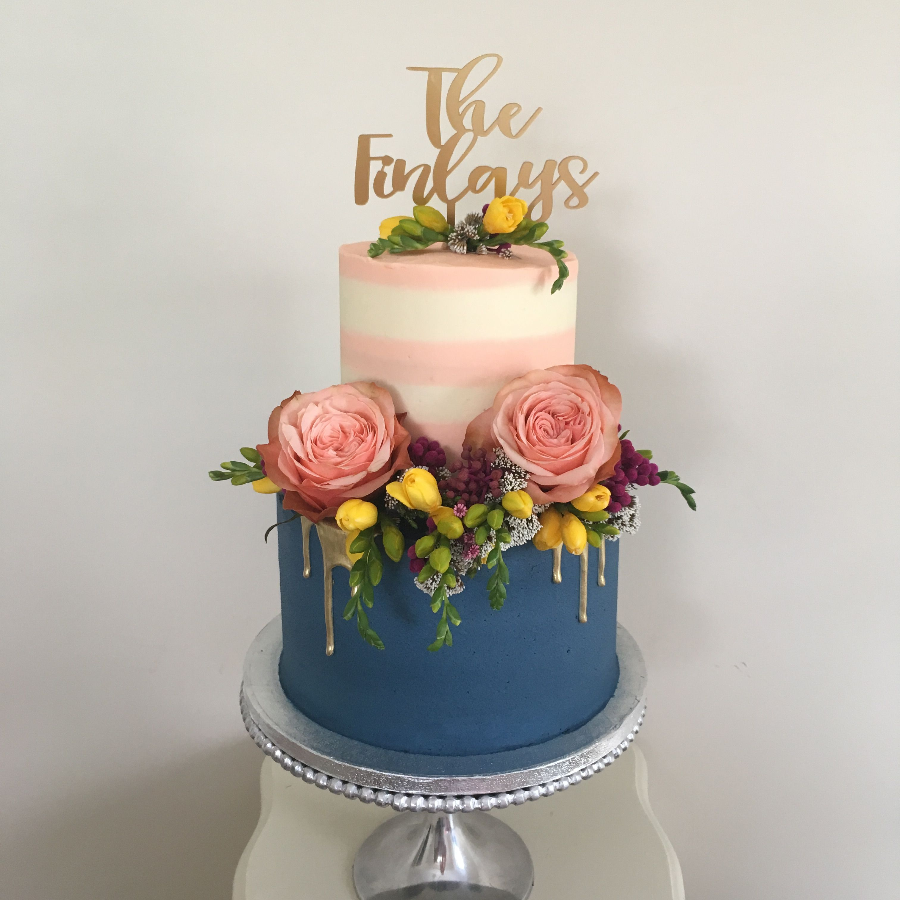 Boho Wedding Cake Bohemian Style Gold And Floral Wedding Cake With Navy Blue Tier Topped With C Wedding Shower