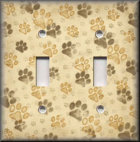 Light Switch Plate Cover - Muddy Dog Paw Prints - Animal Home Decor ...