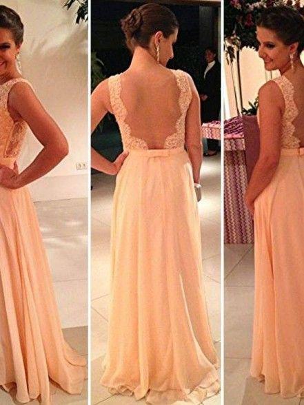 A-Line Bateau Chiffon Lace Backless Evening Dress