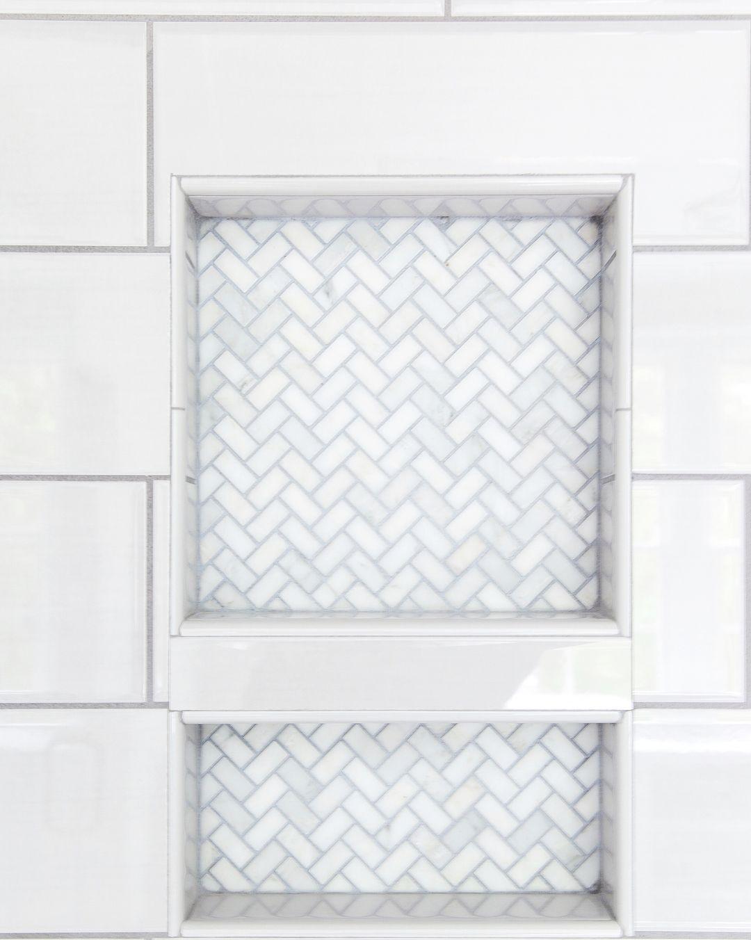 Kate H Design Marble Chevron Tile Detail In Shower Niche Oversized Gray Subway Tile Walls Tile Shower Niche Shower Niche Shower Tile Designs