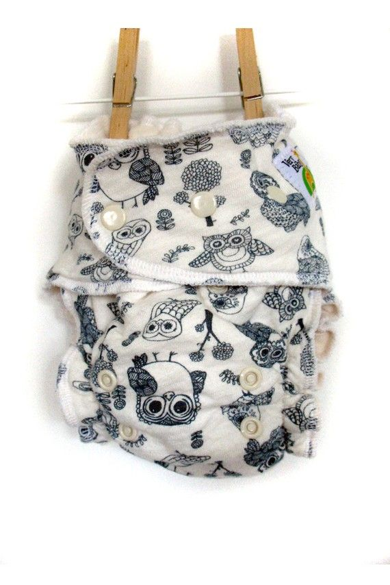 Owl fitted cloth diaper