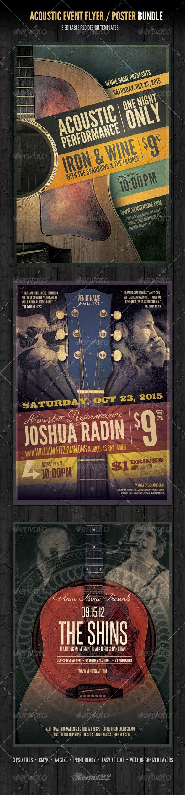 Acoustic Event Flyer/Poster Template Bundle Poster