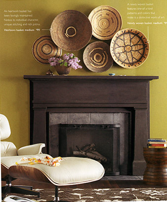 Baskets Grouped Above The Fireplace Decor Interior Wall Design Basket Wall Decor