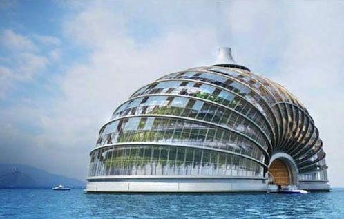 Drijvende woningen als oplossing voor milieuproblematiek - Foto detail: Floating Ark: het drijvende hotel. Lees meer op Logic-Immo.be!