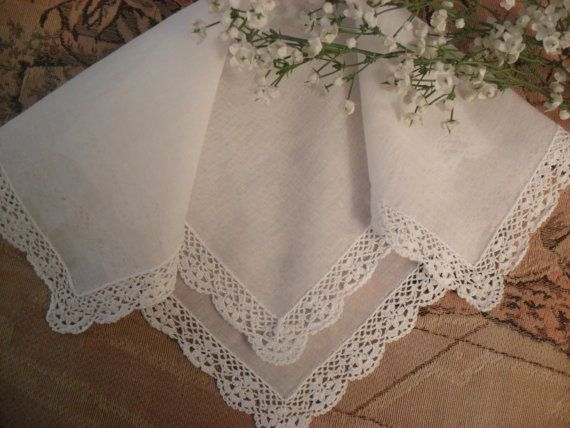 Beautiful White  Vintage Hanky Hankie with by InVintageFashion, $7.00
