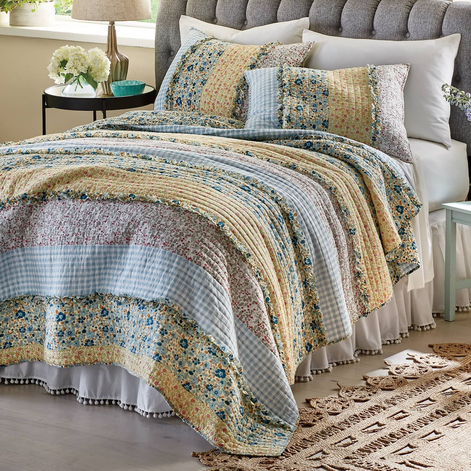 Bluebell Oversized Quilt And Sham Country Door Oversized Quilt Shabby Chic Room Country Bedroom