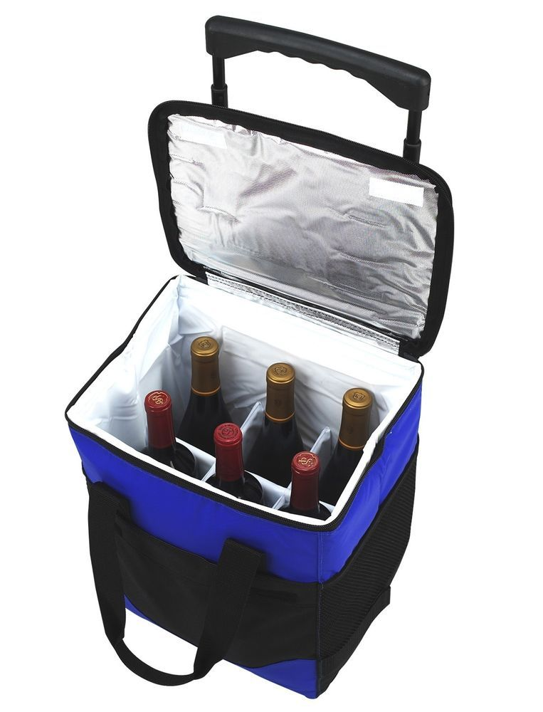 Picnic At Ascot 32 Can Collapsible Rolling 6 Bottle Divided Cooler Blue Black Picnic At Ascot Wine Carrier Wine Bottle