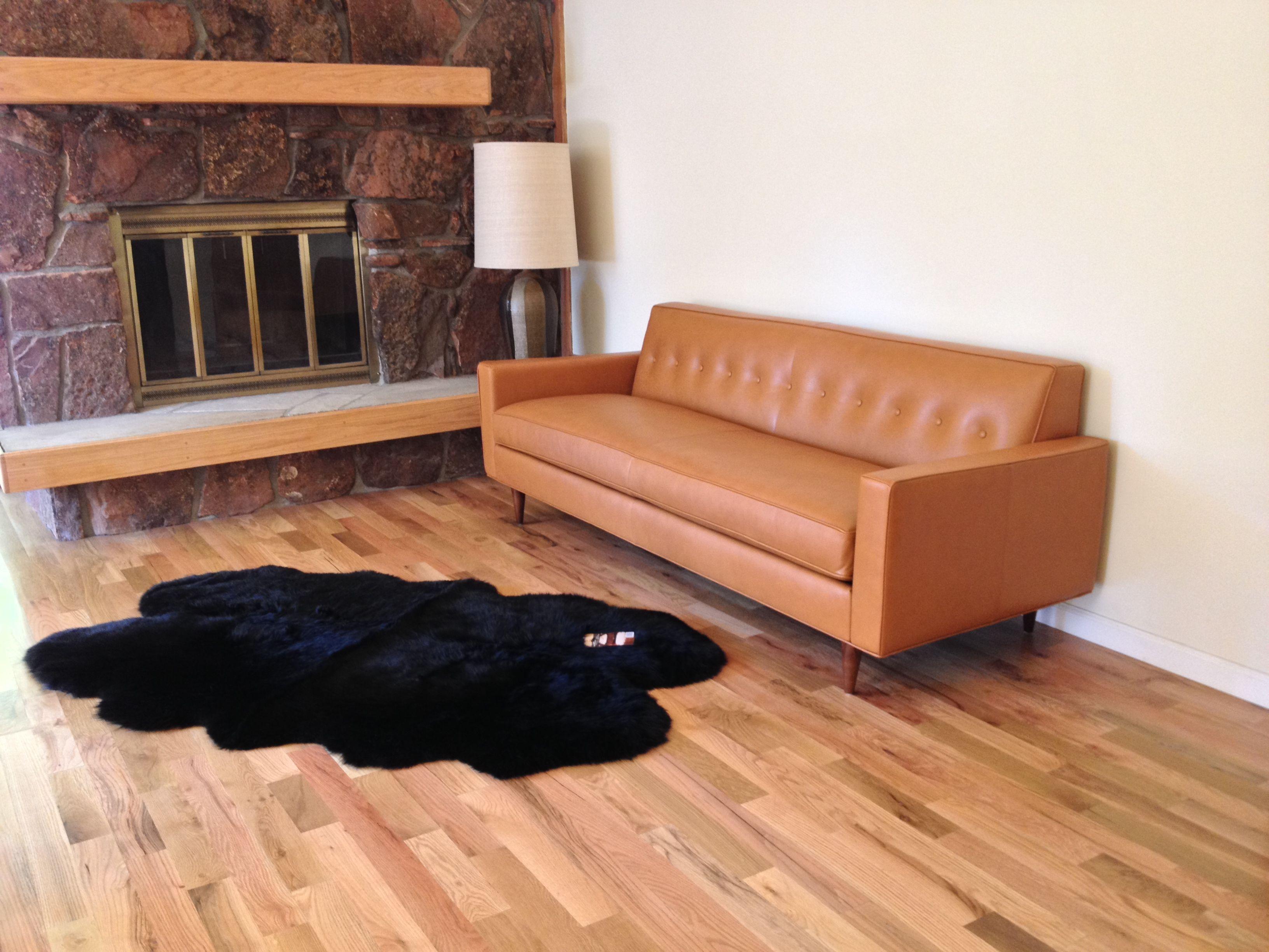 Design Within Reach Bantam Sofa In Leather Warm Mid Century Modern