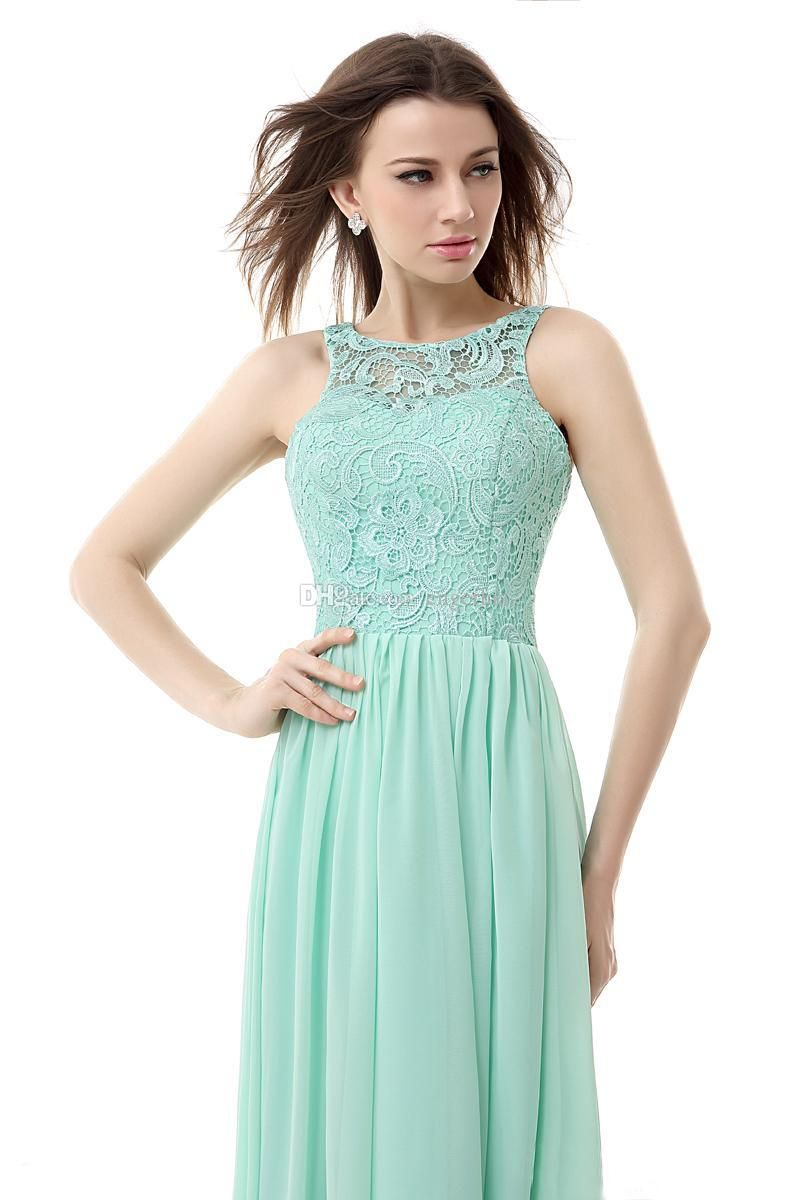 Cheap 2015 Cheap Prom Dresses Under 80 Long Mint Green Chiffon ...