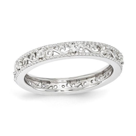 Zales Stackable Expressions 1/8 CT. T.w. Enhanced Black and White Diamond S Band in Sterling Silver vbSMr