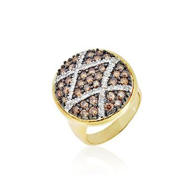 Gave Mocah Collection Champagne & Diamond Ring in 14k Yellow Gold (TCW 1.78)
