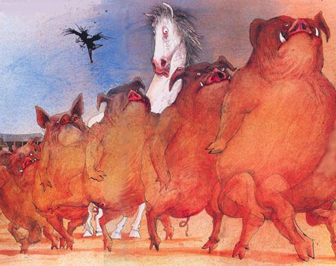 Animal Farm Illustrated By Ralph Steadman Some Animals Are More Equal Than Others Ralph Steadman Farm Animals Illustration Art