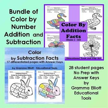Bundle of Color by Number Addition and Subtraction Basic