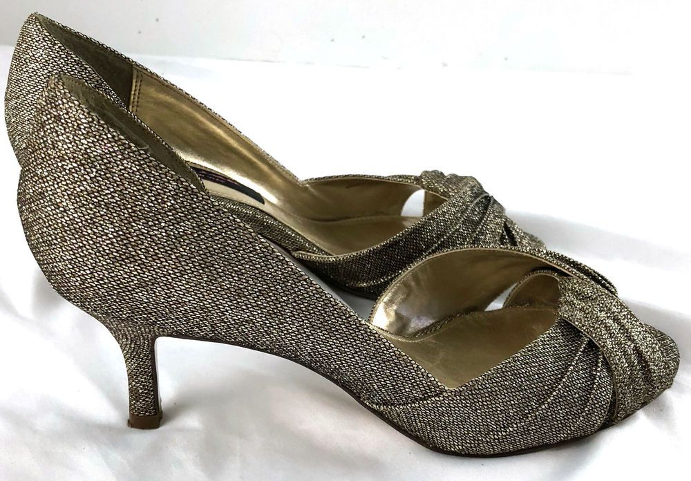 a5f53d6cd8a Nina New York 7.5 M Dark Gold Sparkly Heel Peep Toe Pleating Detail ...