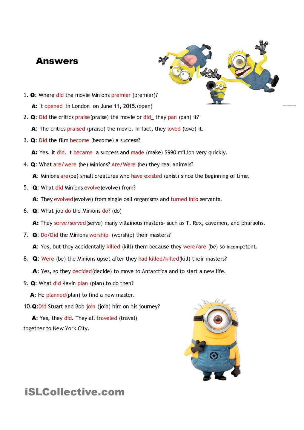 Interview the Minions with KEY worksheet - Free ESL printable worksheets  made by teachers