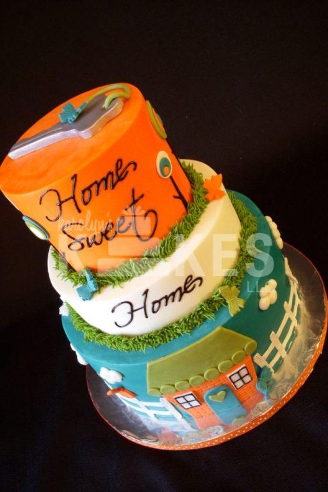 Housewarming party kake all three cakes iced in buttercream marshmallow fondant house and key grass gumpaste white pi  also rh pinterest
