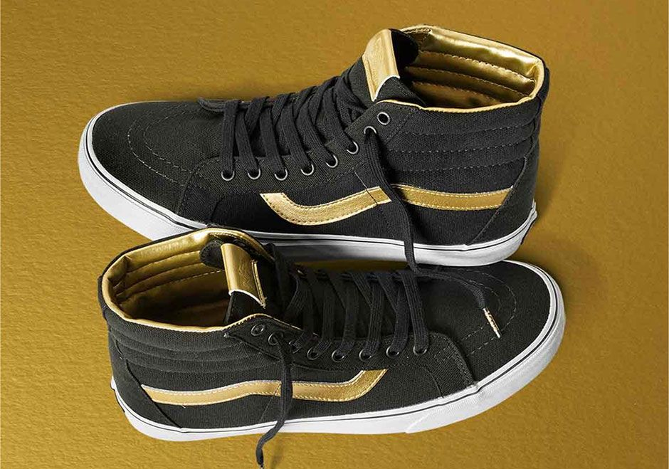 "5bb37abbff Vans is currently celebrating their 50th Anniversary in style with the  introduction of the new Gold Collection. Inspired by the brand s ""Off The  Wall"" ..."