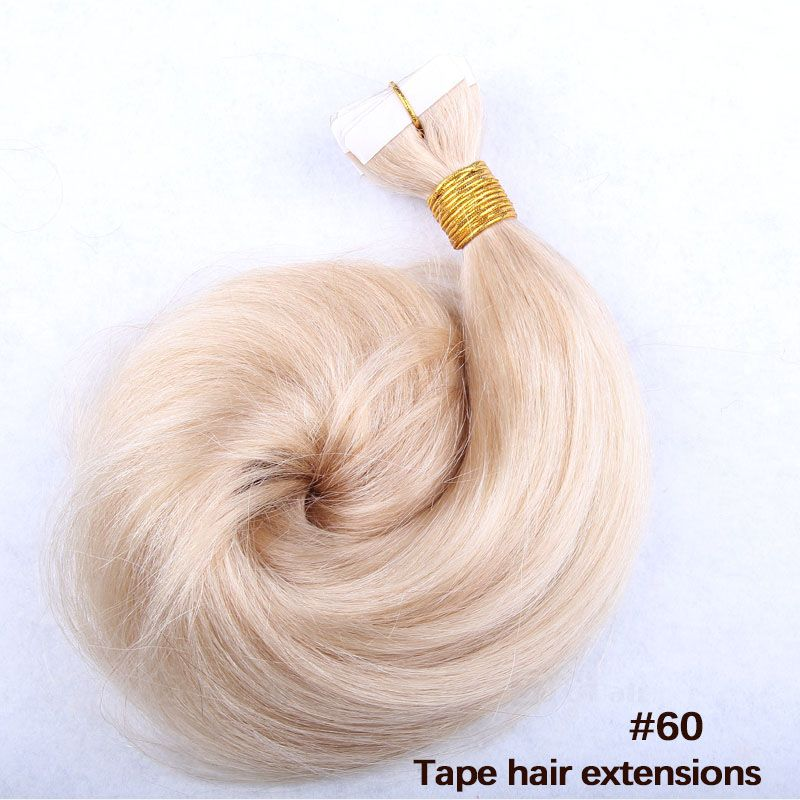 10 30 Inch Tape In Remy Human Hair Extensions 60 White Blonde
