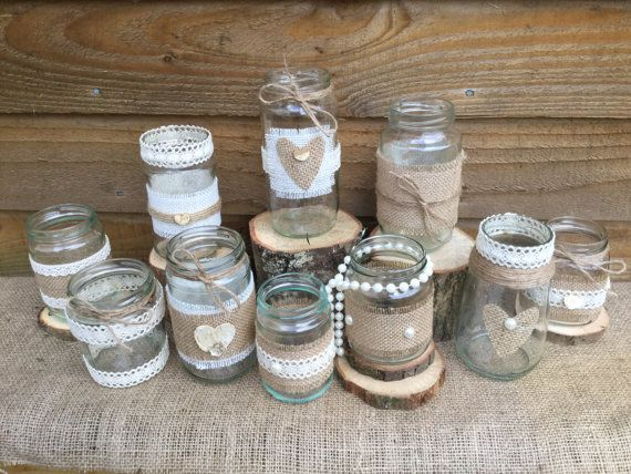 Ten Handmade Rustic Glass Jar Wedding Table Centrepieces Made From Glass Jam Jars With A Lace Hessian Twine Pear Wedding Jars Jam Jar Wedding Jam Jar Crafts