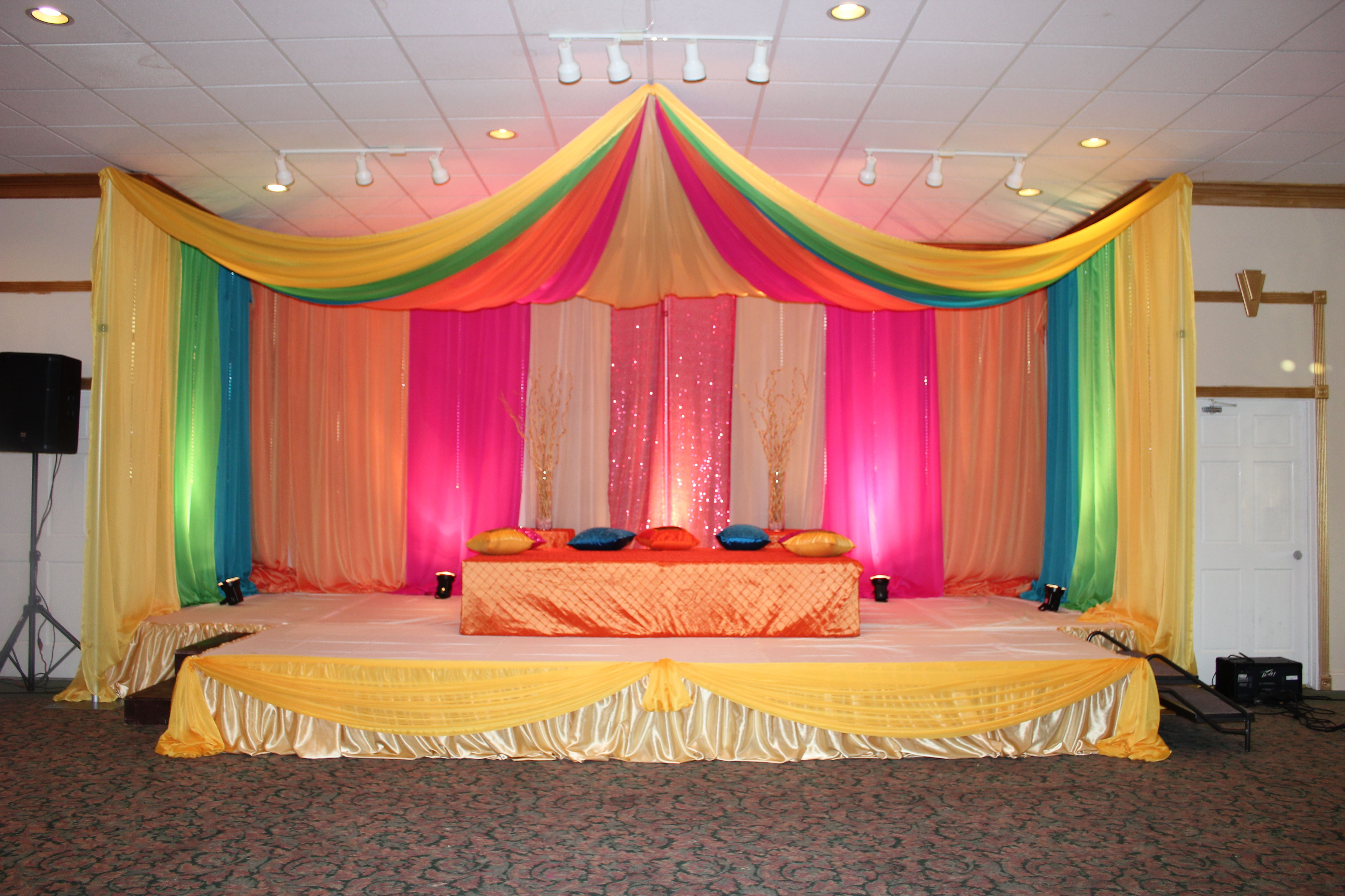 Mehndi Backdrop Diy : Colorful backdrop with canopy in yellow green hot pink gold