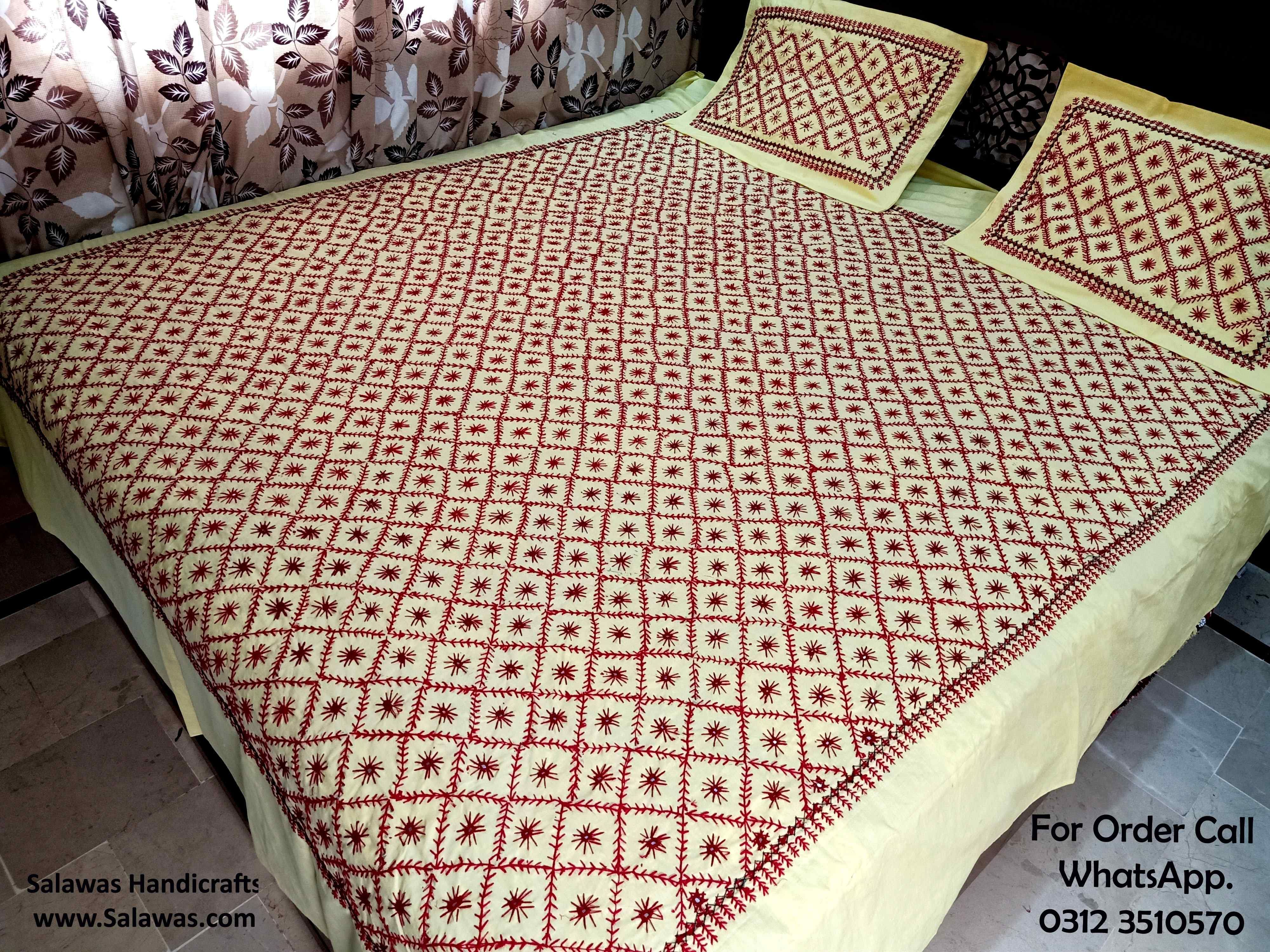 Pakistani Hand Embroidery Bed Sheets In 2020 Bed Bed Sheets Embroidered Bedding