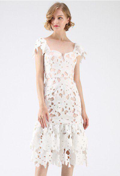 f0b1e9058dd35 Sense Of Blossom Full Floral Crochet BodyCon Midi Dress in Coral - Retro,  Indie and Unique Fashion