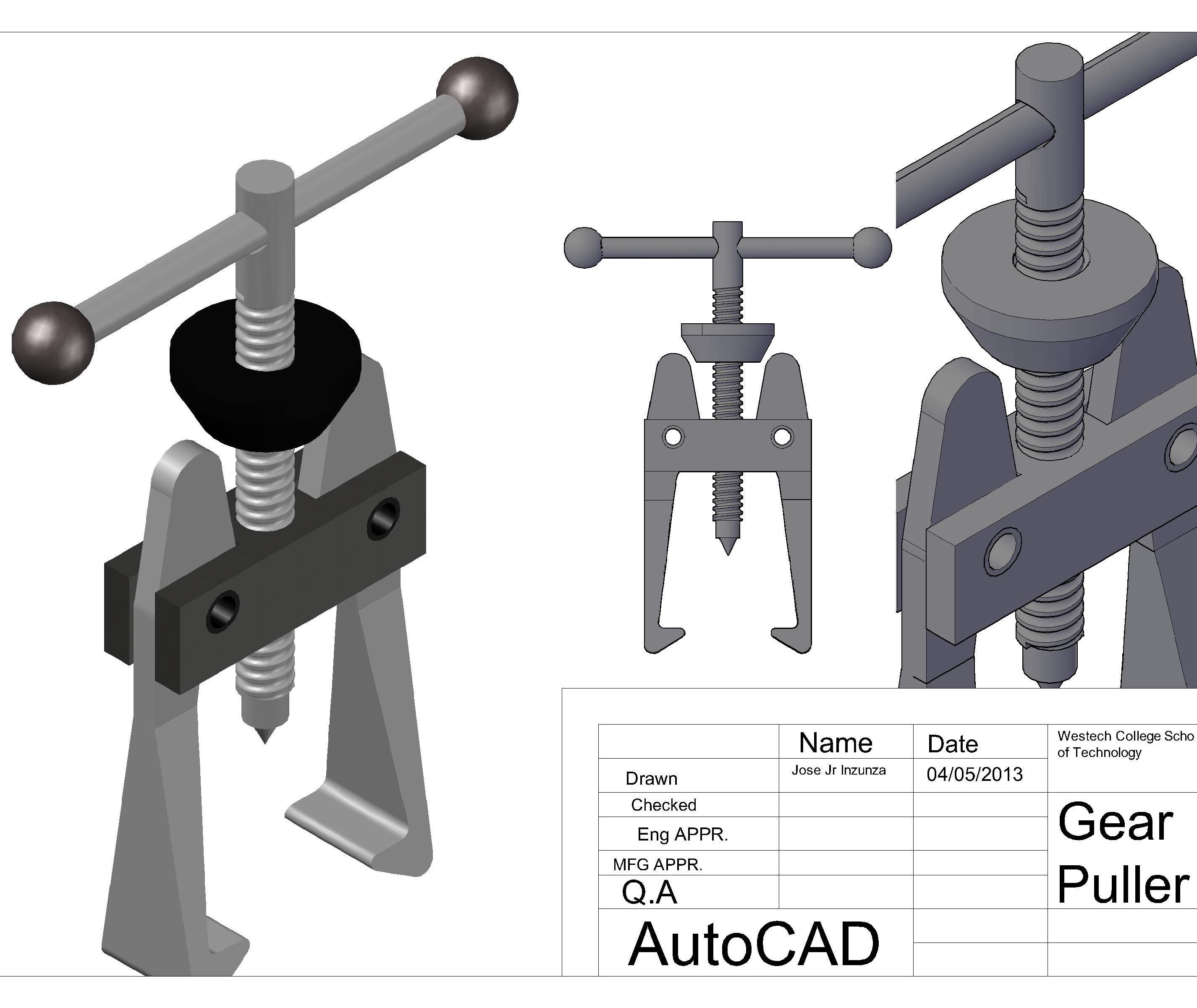 Bearing Puller Cad : Gear puller autocad d machine tools