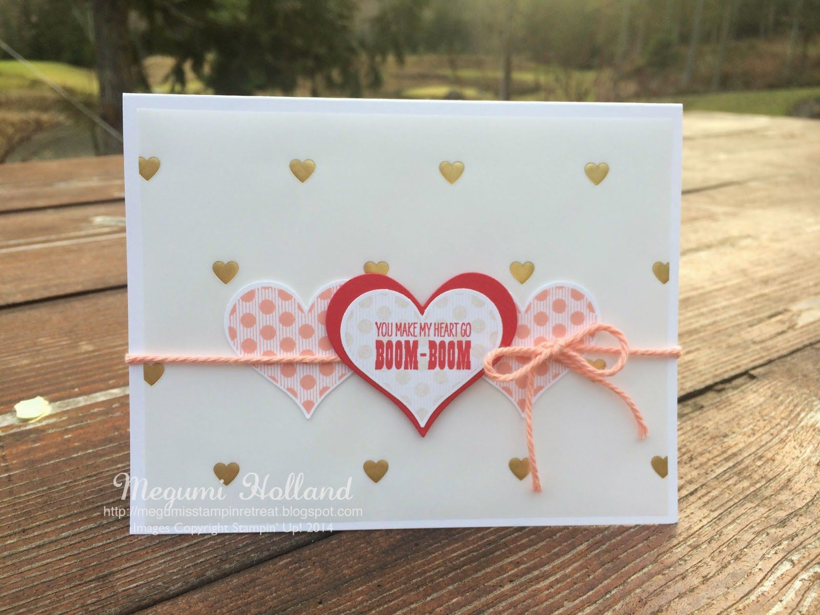 Megumi's Stampin Retreat: Groovy Love Trio Hearts Card & Winner of December Free Stamp Set