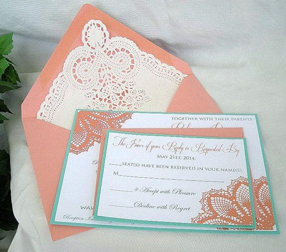 Coral Peach N Turquoise Aqua Wedding Invitation W Doily Lace Envelope Shabby  Chic Invitation Custom Any
