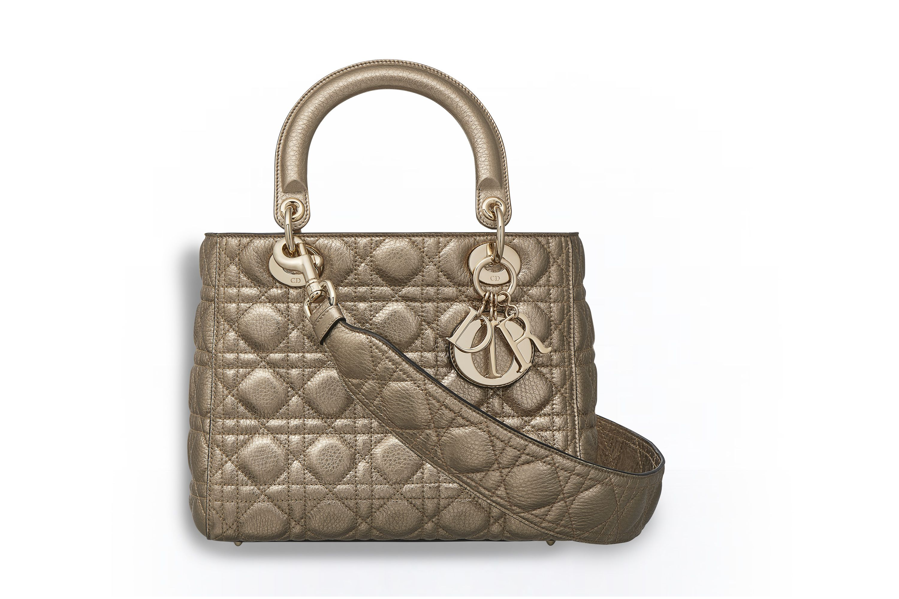 2ef699cf4f11 Supple lady dior bag in light gold metallic grained calfskin - Dior ...