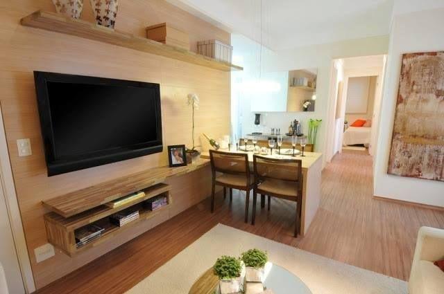 rack tv + mesa apartamento em 2019 Decoraç u00e3o sala, Decoraç u00e3o sala pequena e Salas pequenas -> Decoração De Apartamento Simples E Bonito
