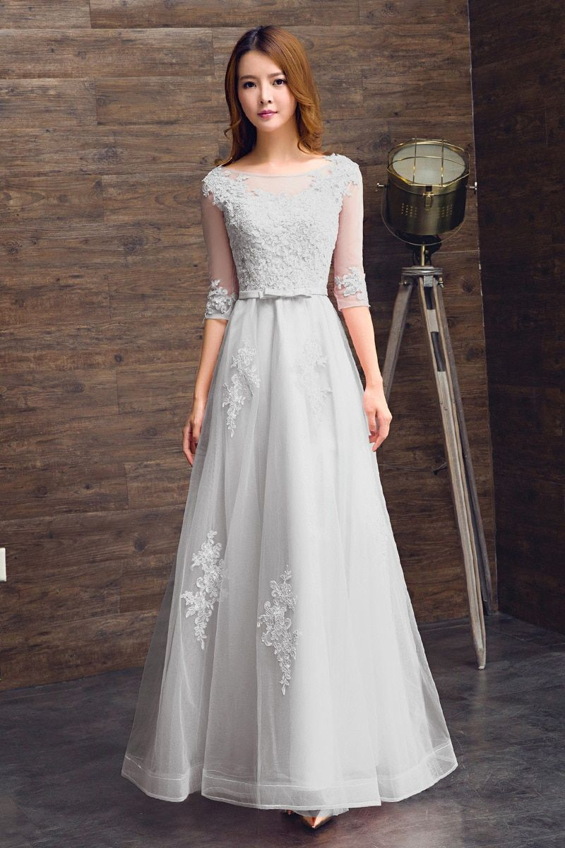 Elegant champagne evening dress oneck aline floor length lace