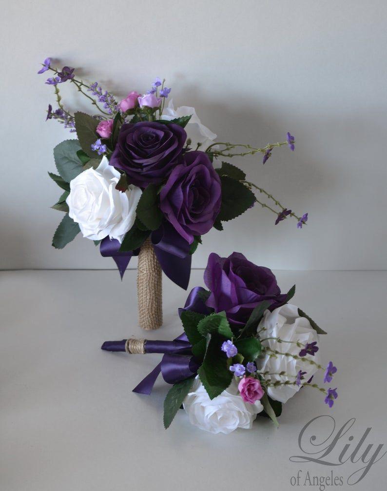 Wedding Bouquet, Bridal Bouquet, Bridesmaid Bouquet, Silk Flower Bouquet, Wedding Flower, purple, plum, lavender, fuchsia, Lily of Angeles #silkbridalbouquet