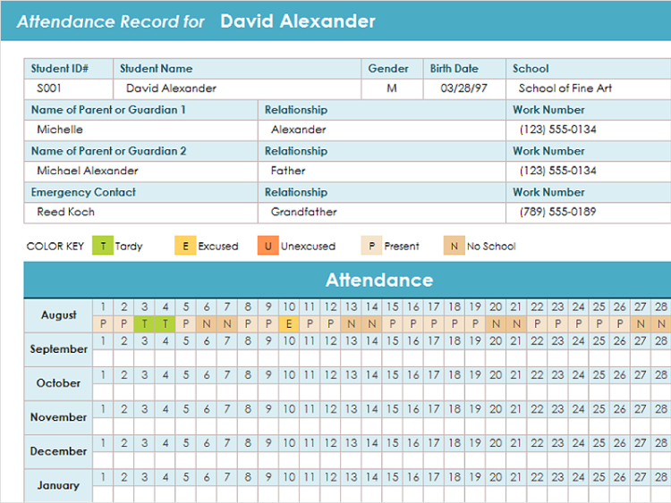 template for attendance tracking
