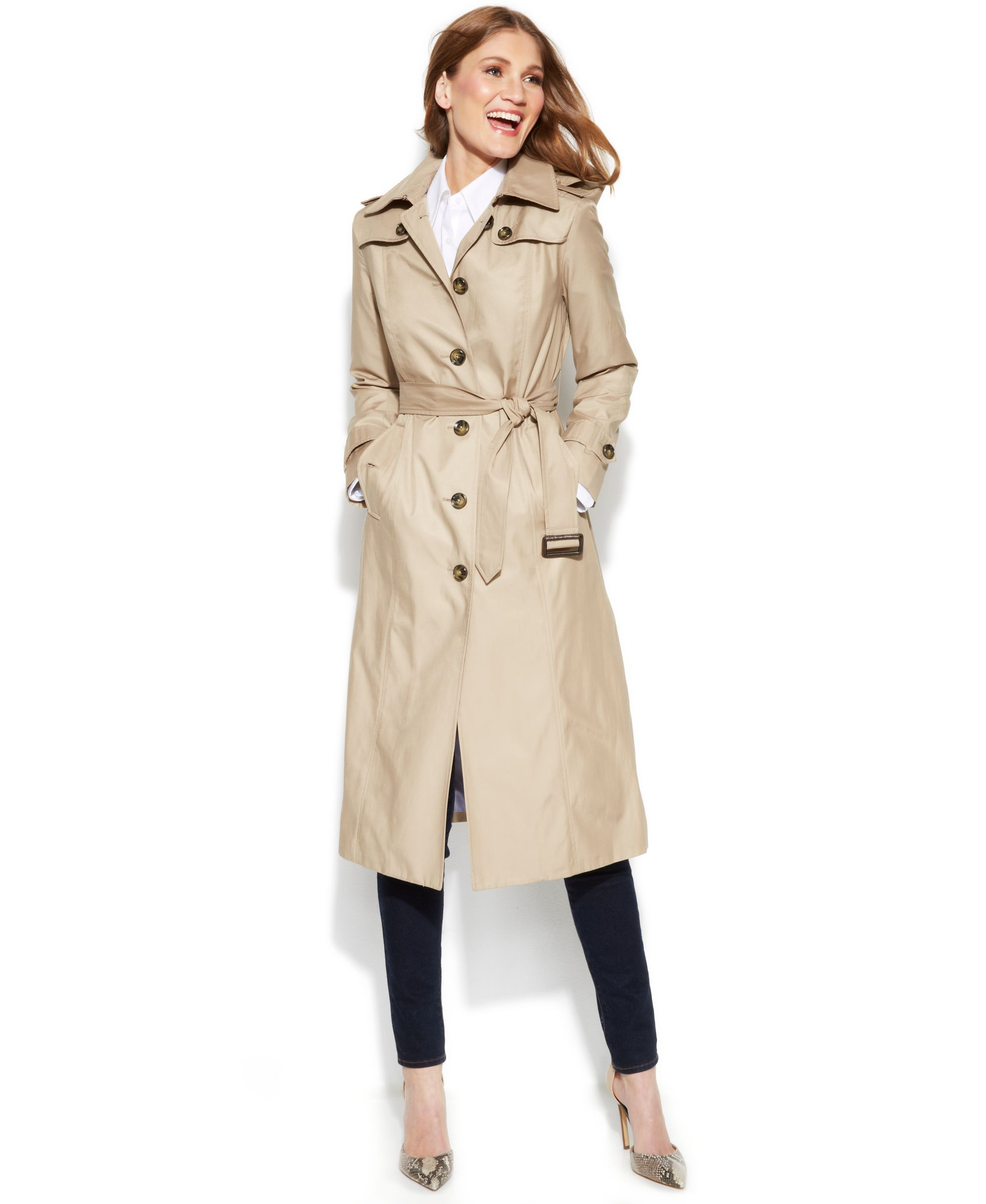 9d2ef633741 London Fog Hooded Belted Maxi Trench Coat