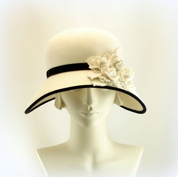 New White Hat For Women Size Large Wide Brim Hat 1920S -5186