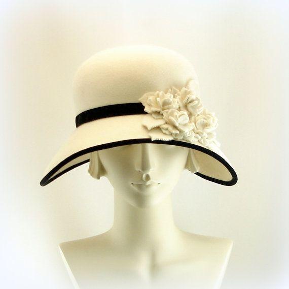 New White Hat for Women size Large Wide Brim Hat 1920's Fashion Cloche Hat Winter White Felt Hat w Black Velvet Trim $285.00