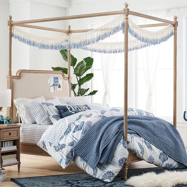 Teen Canopy Bed pb teen colette canopy bed, twin, water-based washed sand (1,220