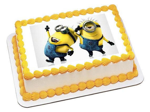 Despicable Me2 Minion Personalized Edible Image Cake Topper With